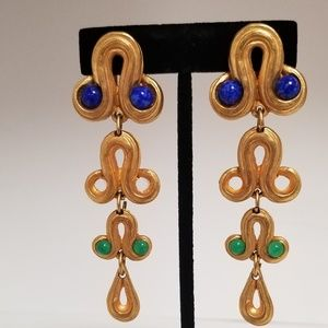 Gold Embellished Curvy Clip on Earrings